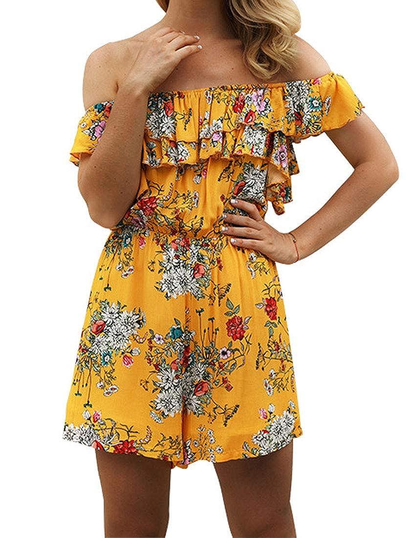 TeapO Womens Chiffon Jumpsuits Off Shoulder Print Playsuit Holiday Ruffle Flounce Summer High Waist Jumpsuit