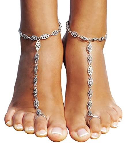 Bienvenu 2 PCS Beach Anklet Chain Bracelet Barefoot Sandals Wedding Foot  Jewelry 7c2e111b8348