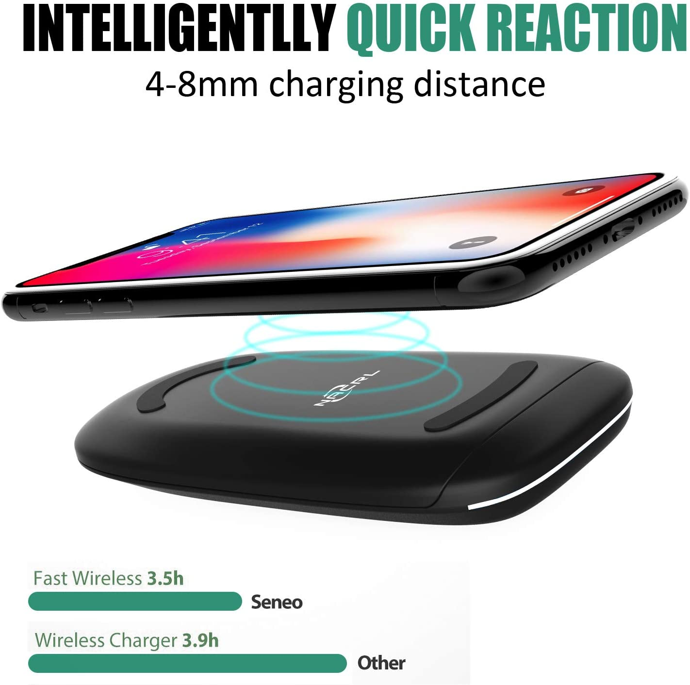 No AC Adapter Fold Wireless Charging Stand Compatible with iPhone Xs MAX//XR//XS//X//8//8 Plus Fast Wireless Charger 10W for Galaxy Note 9//S9//S9 Plus//Note 8//S8 and Other Qi-Enabled Devices