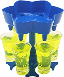 Upgraded 6 Shot Glass Dispenser and Holder(Including 6 Shot Glasses), Beverage Dispensers, Cocktail Dispenser, Bar Shot Dispenser, Carrier Liquor Dispenser Gifts Drinking Tool(Blue)