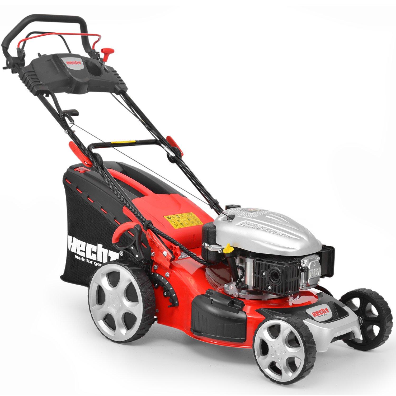HECHT Benzin-Rasenmäher 548 SWE Benzin-Mäher mit Elektro-Start (5 PS Motorleistung, 46 cm Schnittbreite, 7-fache Schnitthöhenverstellung 25-75 mm, 60 L Fangsack)