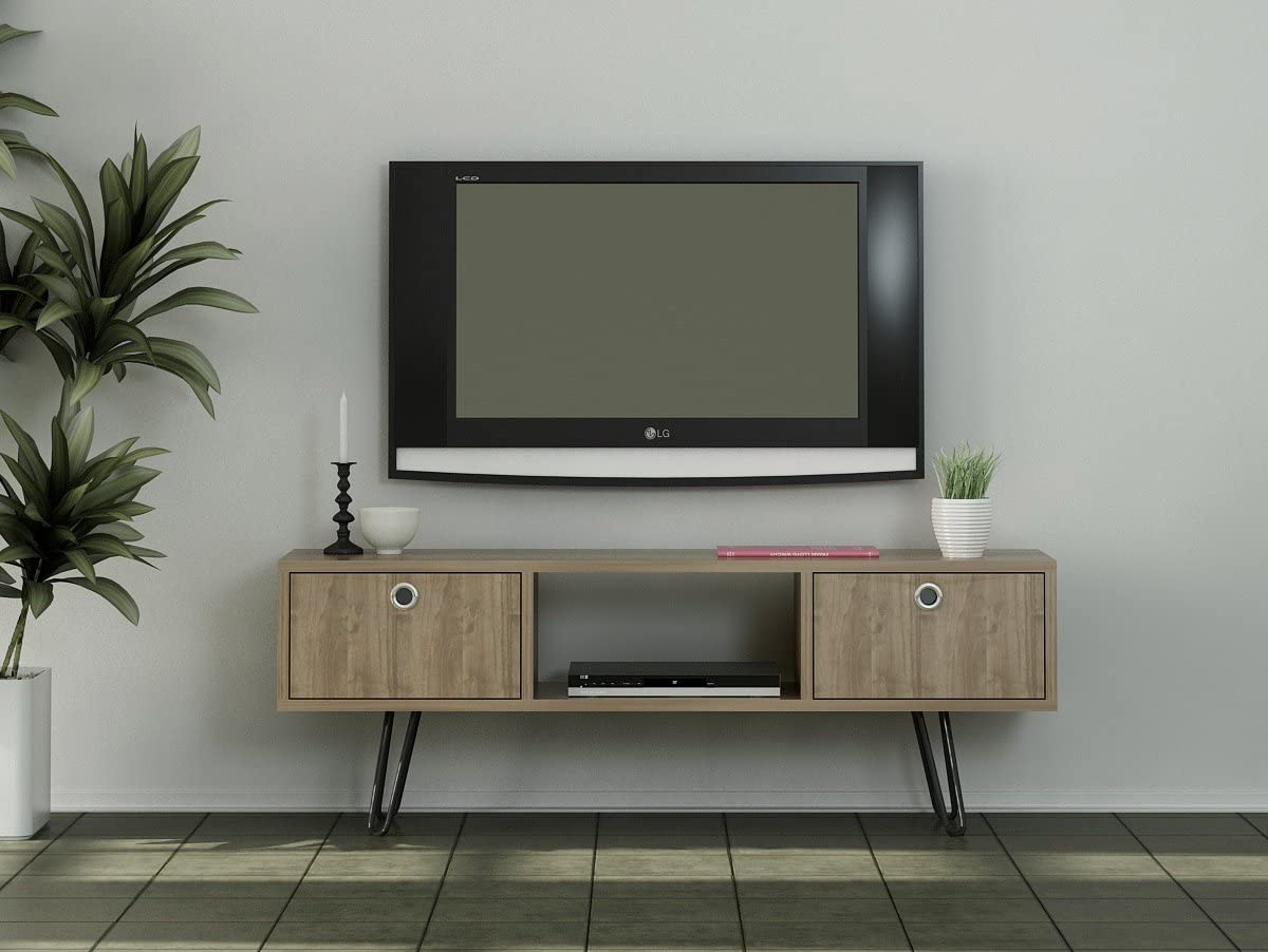 120 x 43 x 29 cm Walnuss mit 2 T/üren Alphamoebel 4958 Moda TV Board Lowboard Fernsehtisch Fernsehschrank Sideboard Schrank Tisch f/ür Wohnzimmer