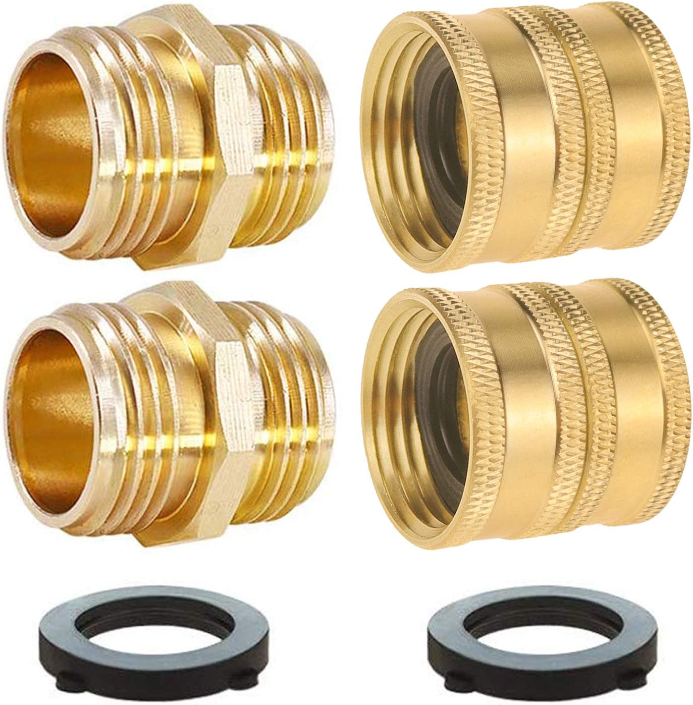SANCEON Garden Hose Connector Adapter, 4-Pack 3/4'' GHT Brass Garden Hose Double Male and Female End Connector Fitting, Male to Male, Female to Female with Extra 4 Washers(2 Female + 2 Male)