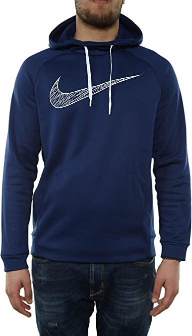 Nike Men's Therma Graphic Hoodie (Blue Void/White, Large)