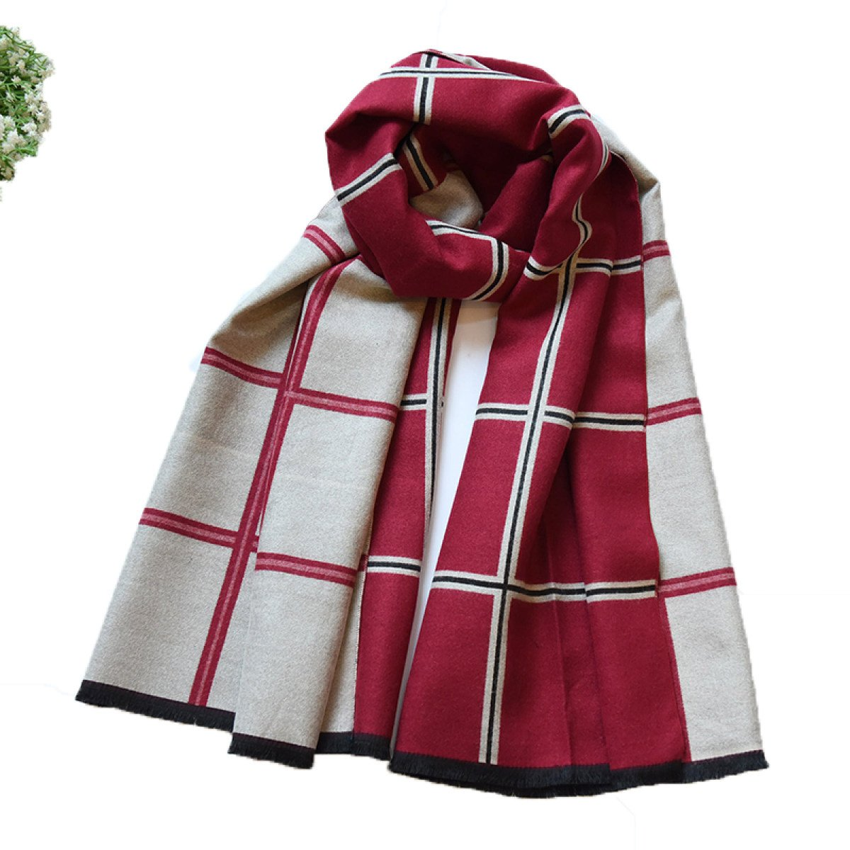 B CCAILIS Men And Women Autumn And Winter England Double Sided Lattice Fashion Scarf Thicker Shawl Warm Long Out,AOneSize