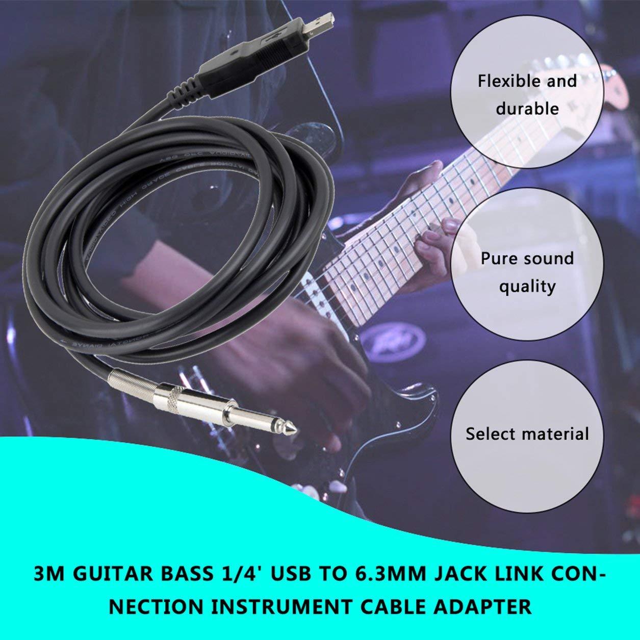 Dailyinshop 3M Guitar Bass 1/4 USB a 6.3mm J ACK Link Conexión ...