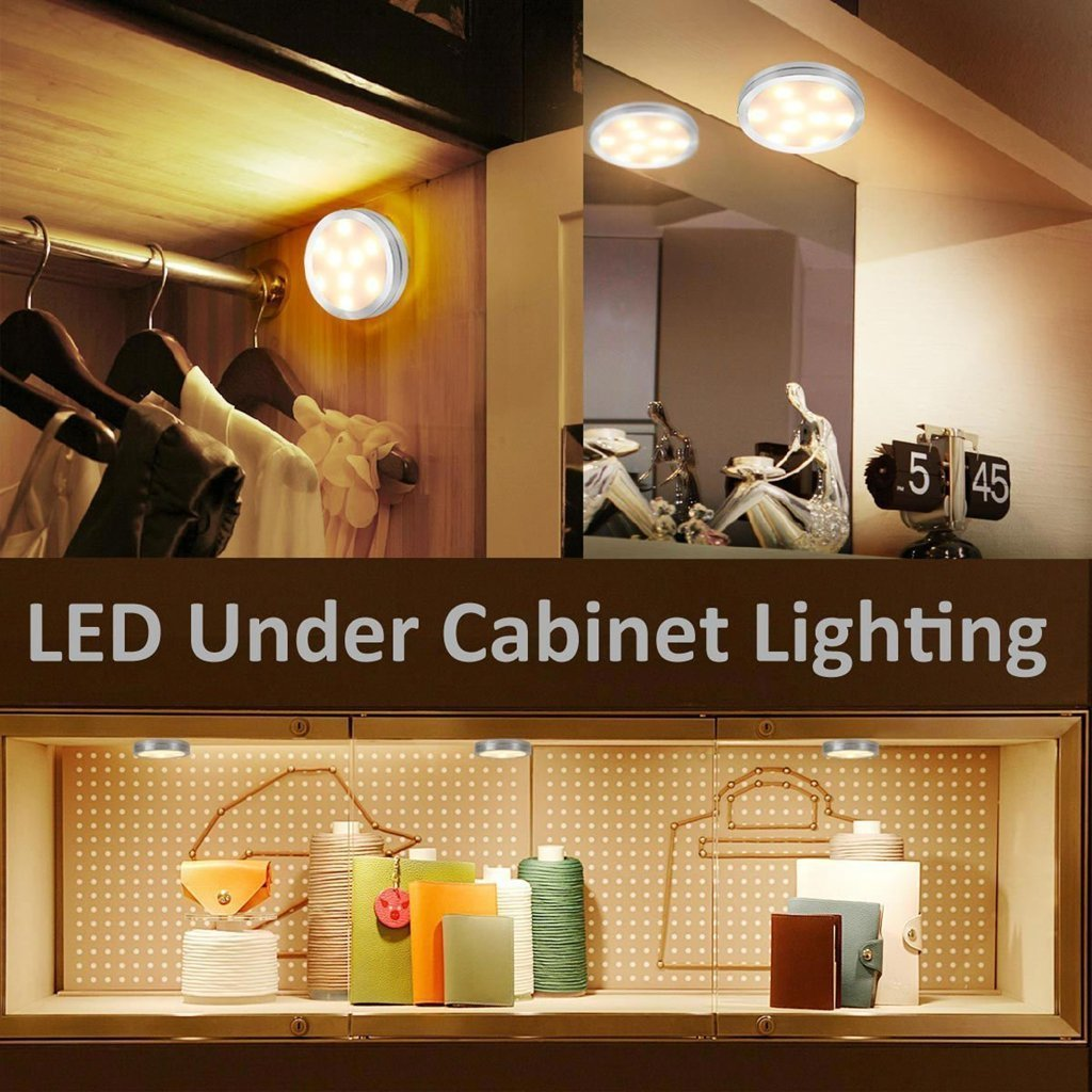 AXOLED® LED Under Cabinet Lighting Kit, 12 Deluxe Kit, Warm White, All Accessories Included, Under Cabinet Lighting, Puck Lights