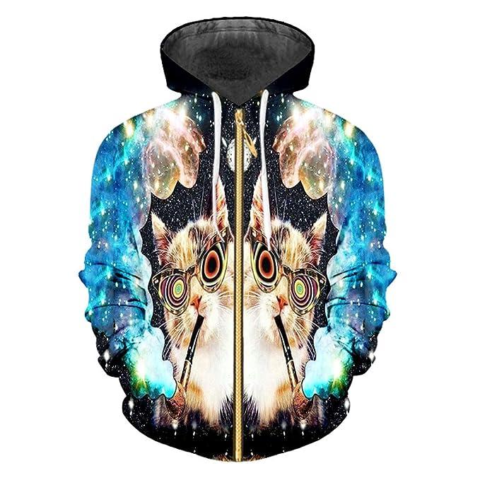 Sudaderas Cremallera Suelta 3D Pullover Impreso Starry Sky Cat Streetwear Ropa Gran tamaño Unisex Sudaderas Invierno. Pasa el ratón por ...