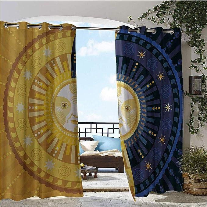 GUUVOR Fashion Drape, Artistic Sky con Ondas Coloridas de Sol y Luna Pareja en días de Amor Cycle Myth, Cortina de Exterior Impermeable a Prueba de óxido con Arandelas: Amazon.es: Jardín