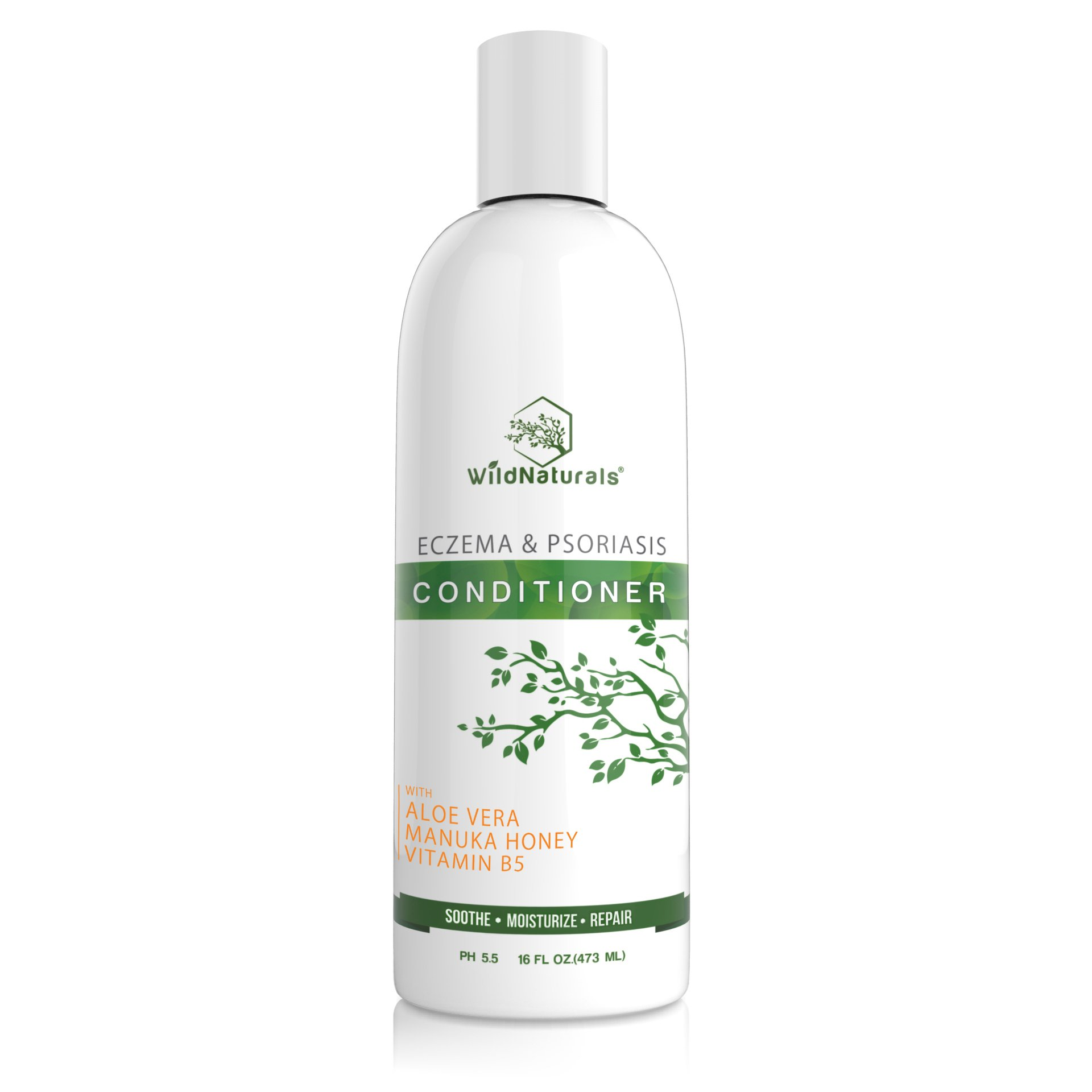 Wild Naturals Eczema Psoriasis Conditioner : 98% Natural, 80% Organic, Sulfate Free, Soothing, Healing, Anti Dandruff, Flaky, Itchy, Dry Scalp Treatment for Seborrheic Dermatitis, Moisturizing, 16oz by Wild Naturals