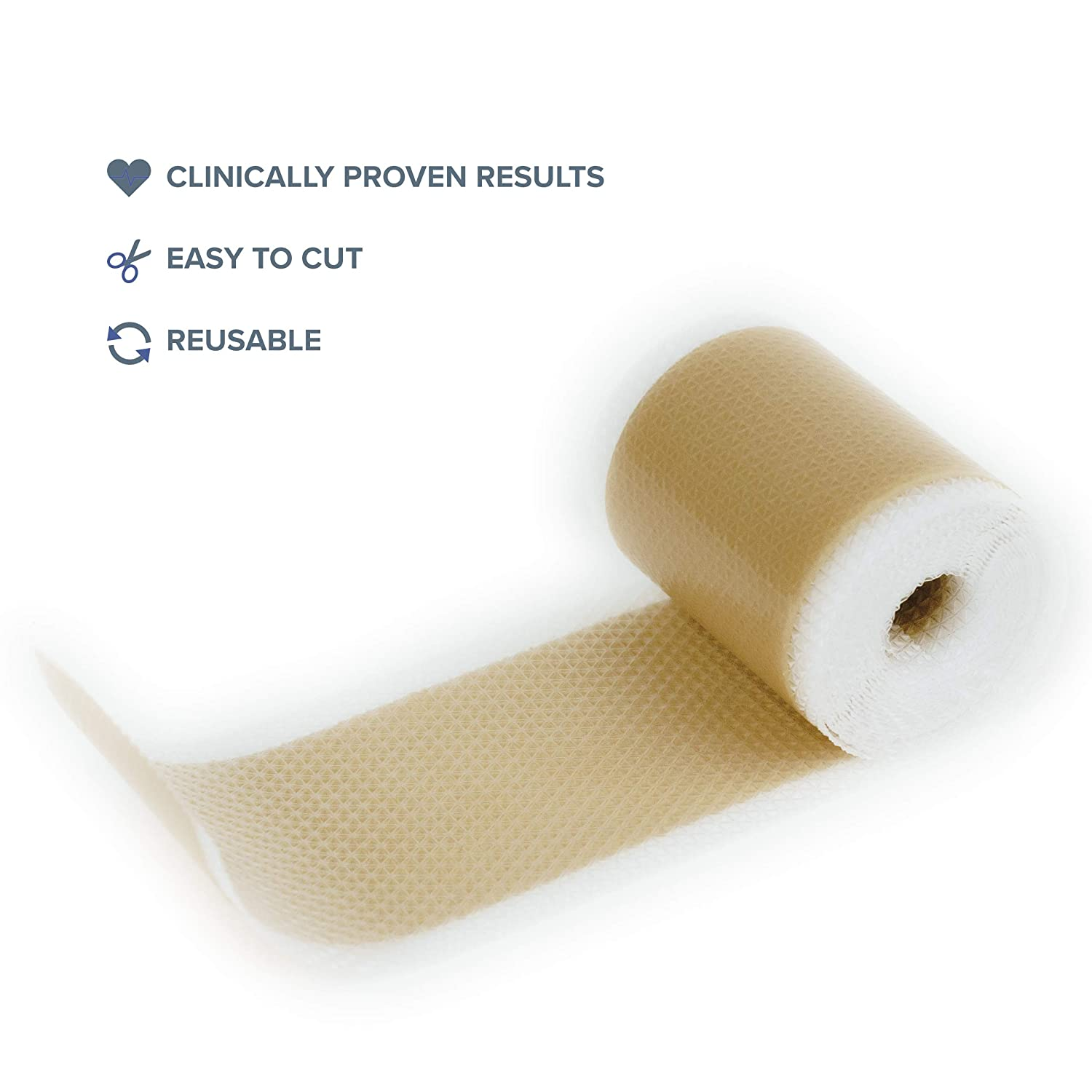 """AWD Medical Soft Silicone Tape for Scars Removal – 1.6"""" x 120"""" with Silicone Gel Sheeting - Painless Easy Removal Hypoallergenic for Surgery 
