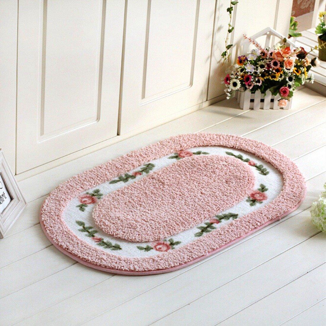 Jiyaru Oval Shape Entrance Doormat Bath Mat Room Mat Bath Rug Bedroom Rug Blue S