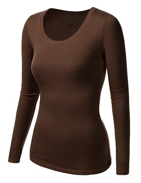 best service 49e4c efe58 Damen Frauen Langarm Unterhemd - Rundhalz T-Shirt - Basic TShirt - Basis  Bluse - Tops - Unterwäsche