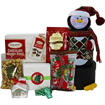 Amazon.com : Penguin Stacking Christmas Holiday Gourmet Snacks Tower ...