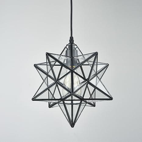 Yobo lighting transparent glass moravian star pendant chandelier 12 yobo lighting transparent glass moravian star pendant chandelier 12 inch aloadofball Image collections