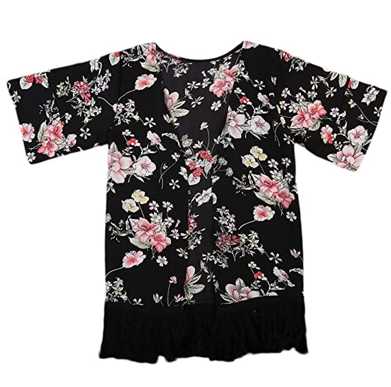 c1d66df9f00f24 Small&beautiful Baby Girl Floral Print Jacket Tassel Chiffon Kimono  Cardigan Cover up Blouse Summer Coat Clothes