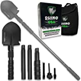 Rhino USA Survival Shovel w/Pick - Heavy Duty Carbon Steel Military Style Entrenching Tool for Off Road, Camping, Gardening,