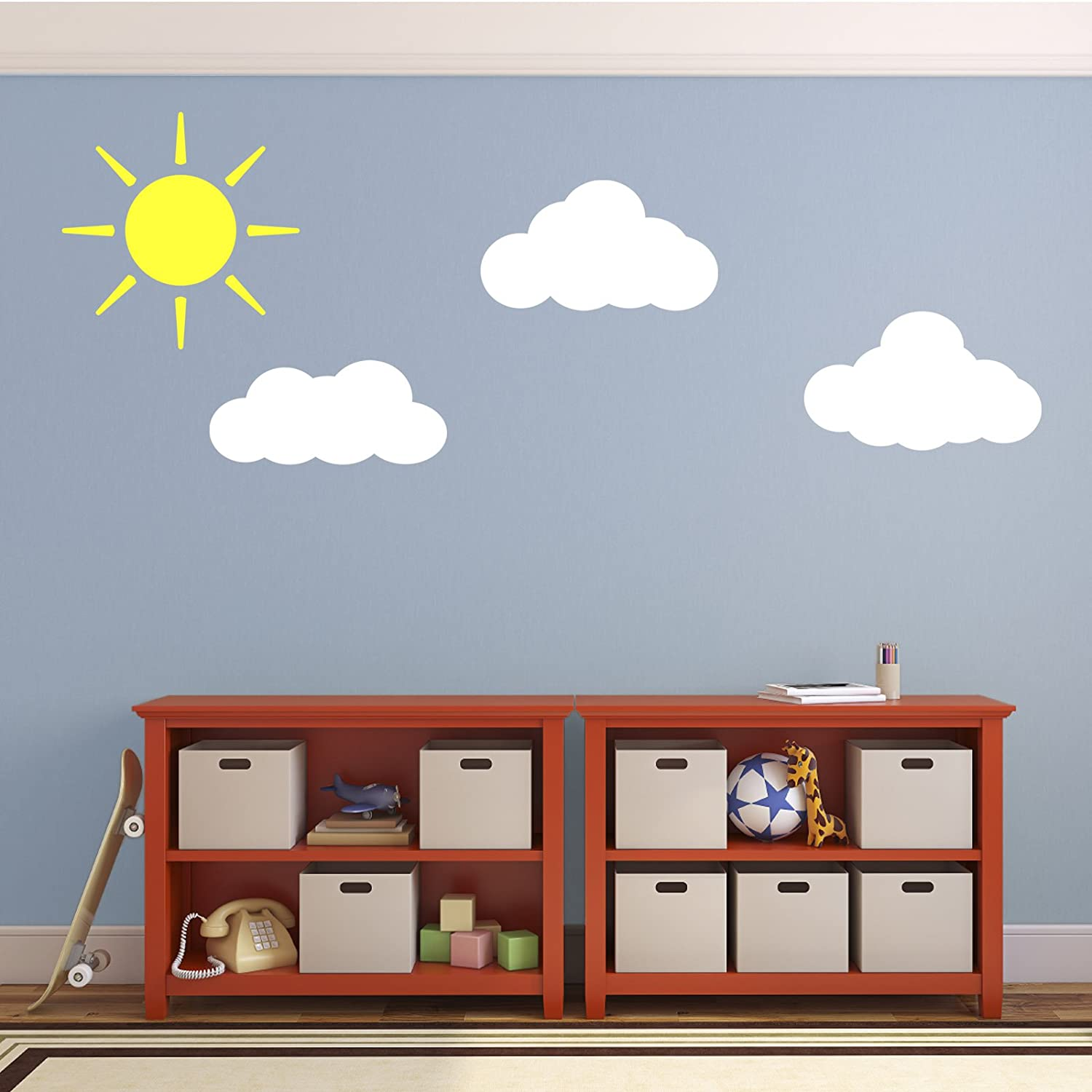 Sun and clouds wall decals stickers for childs nursery bedroom sun and clouds wall decals stickers for childs nursery bedroom or playroom amazon kitchen home amipublicfo Images