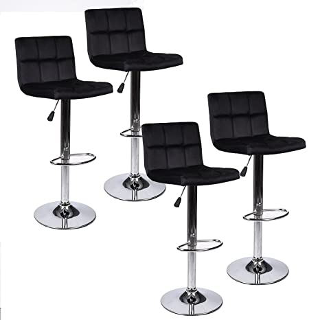Fabulous Puluomis Set Of 4 Black Velvet Fabric Armless Chair Adjustable Swivel Gaslift Bar Stool Beatyapartments Chair Design Images Beatyapartmentscom