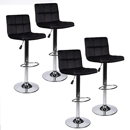 Set of 4 Black Mordern Swivel Adjustable Barstool, 360 Degree Flannel Padded Pub Chair Square Back