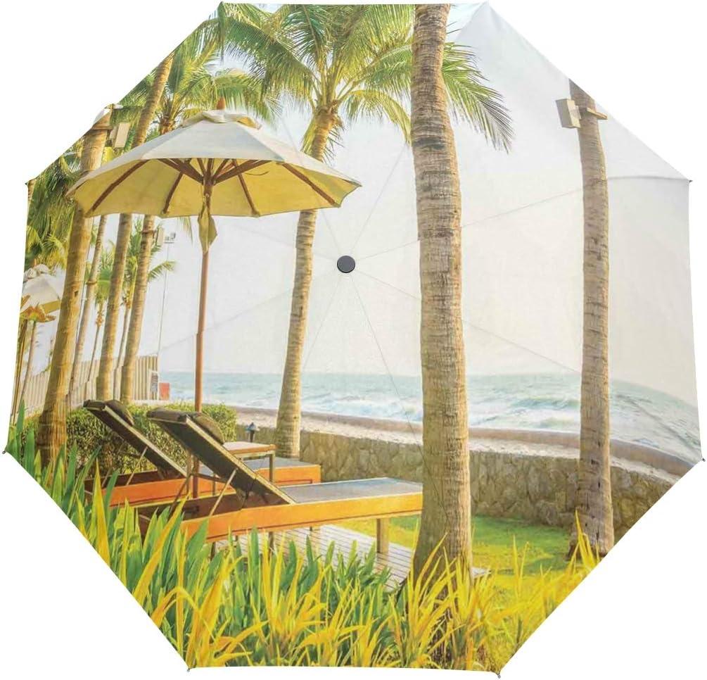 SUHETI Paraguas automático de Apertura/Cierre,Palmeras Sombrilla Y Sillas Alrededor De La Piscina Hotel Resort,Paraguas pequeño Plegable a Prueba de Viento