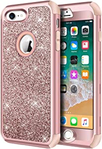 Hython Designed for iPhone 8, iPhone 7 Case, Heavy Duty Full-Body Defender Protective Case Bling Glitter Sparkle Hard Shell Hybrid Shockproof Rubber Bumper Cover for iPhone 7 and iPhone 8, Rose Gold