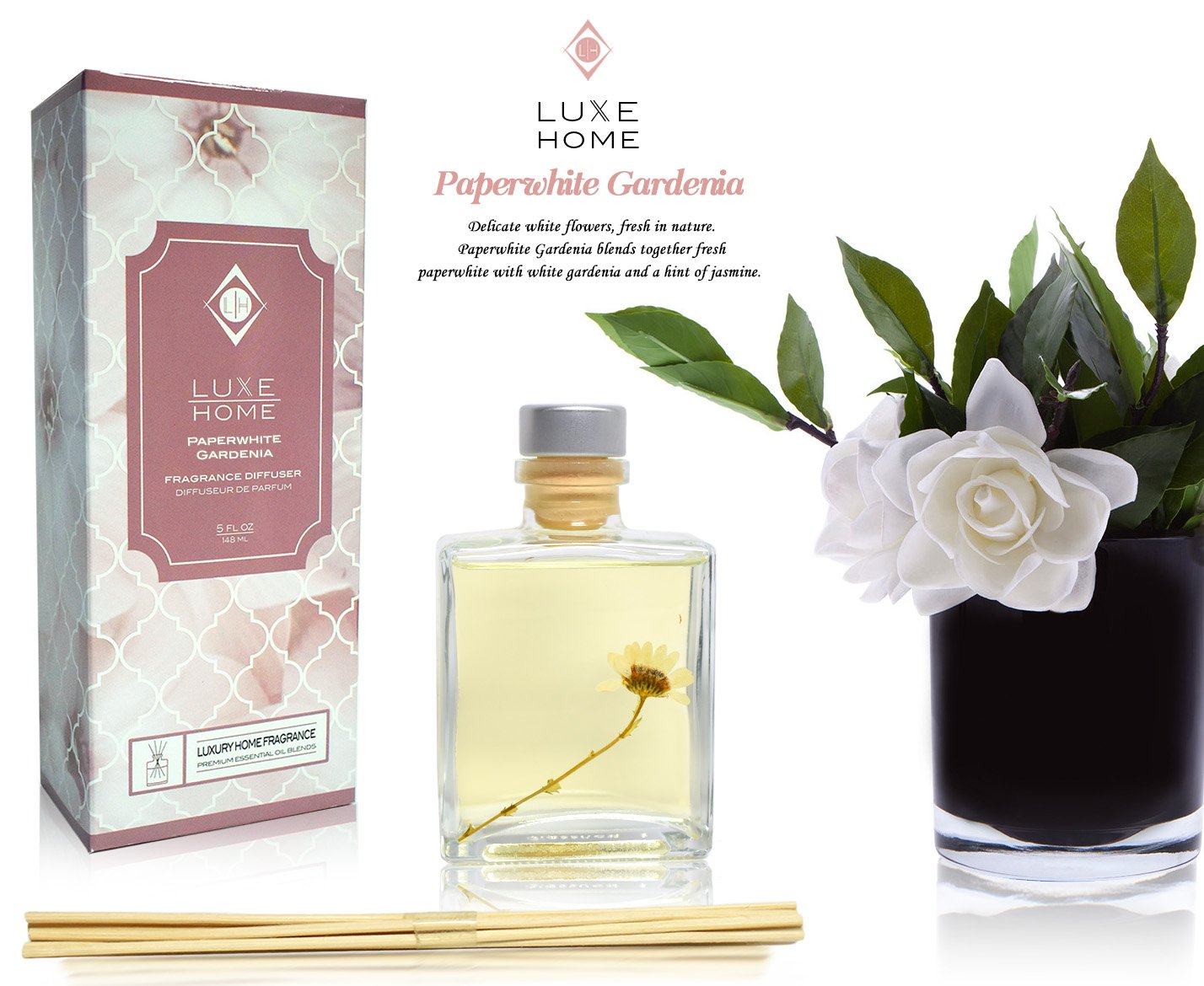 Amazon luxe home paperwhite gardenia essential oil reed amazon luxe home paperwhite gardenia essential oil reed diffuser with jasmine fragrance notes beautiful home decor home scent beauty mightylinksfo
