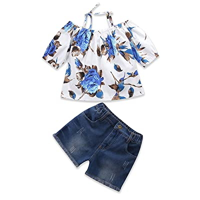 Kid Girl Flower Strappy T-Shirt+Shorts Denim Jeans Summer Clothes 2pcs/Set: Clothing