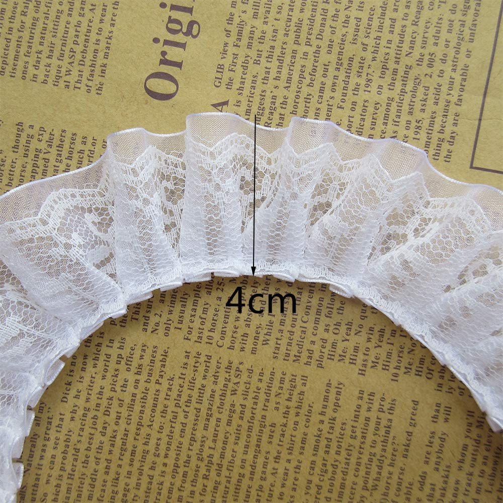 Black 10 Yard Pleated Organza Lace Edge Trim Ribbon 1-1//2 inch Wide Assorted Colors Trimming Ruffle Fabric Embroidered Sewing Craft Wedding Bridal Dress Party Decoration Clothes Embellishment