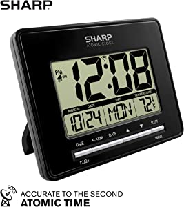 Sharp Atomic Desktop Clock – Auto Set Digital Alarm Clock - Atomic Accuracy - Easy to Read Screen with Time/Date/Temperature Display- Perfect for Nightstand or Desk