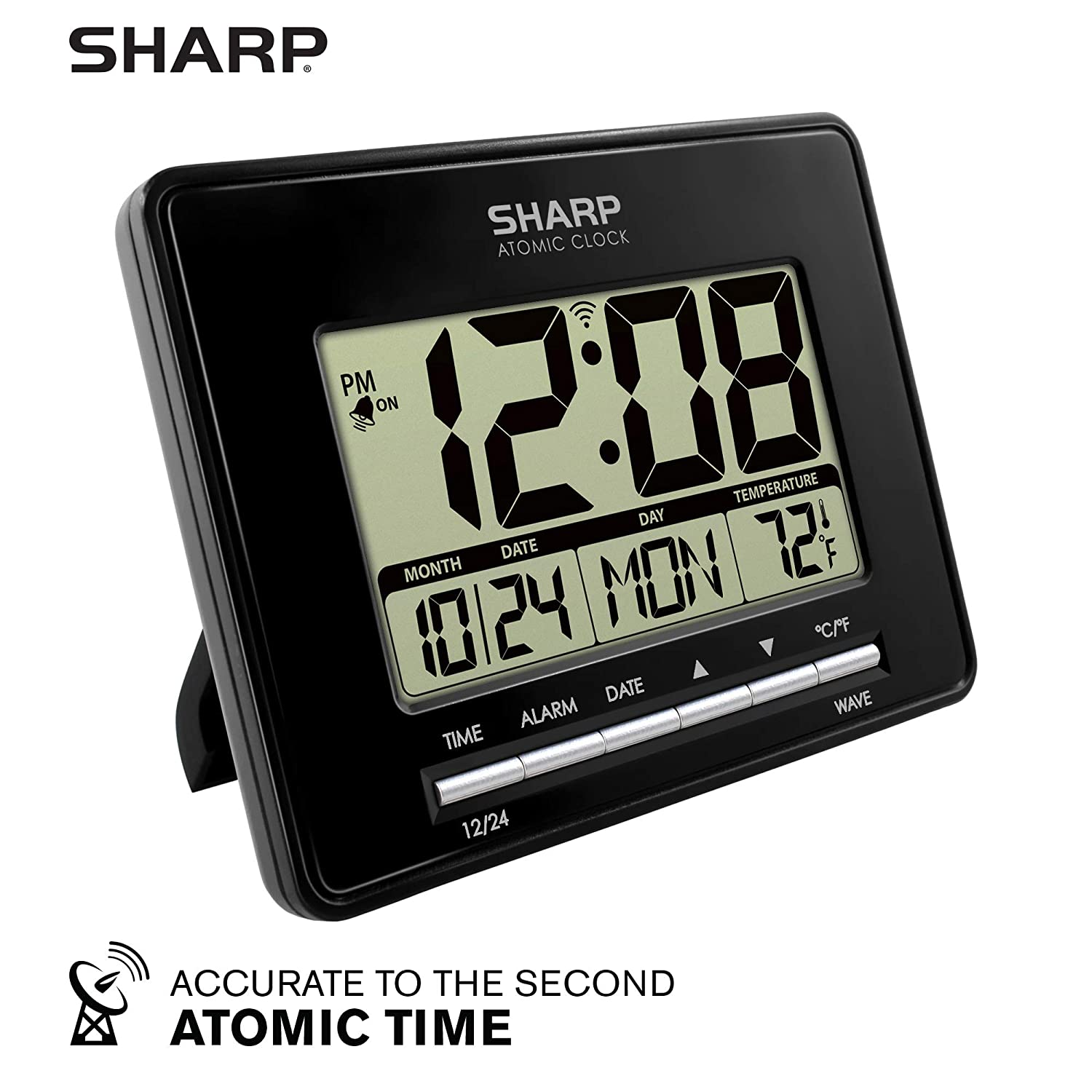 Sharp Atomic Desktop Clock – Auto Set Digital Alarm Clock