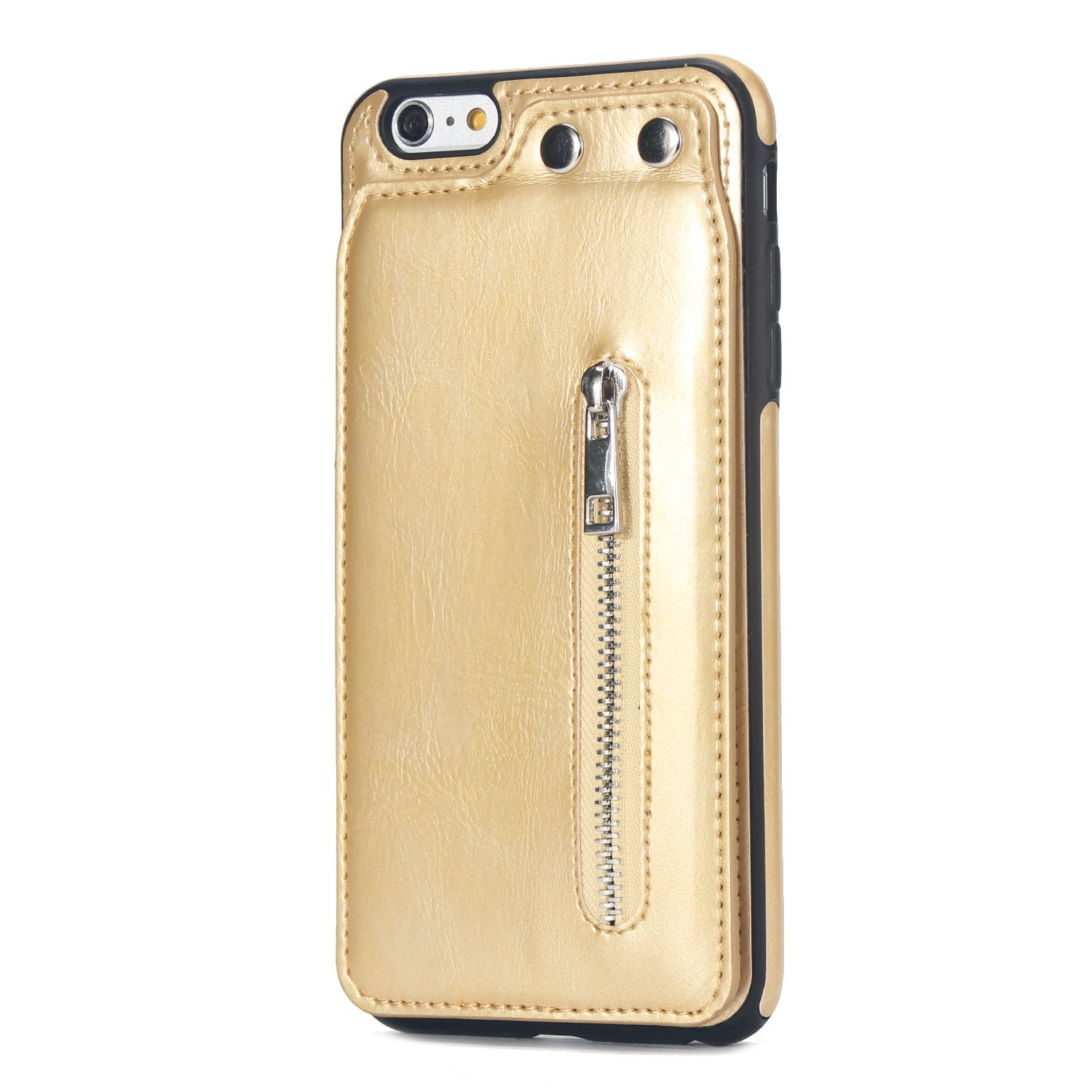 Case for iPhone 6 Plus/iPhone 6S Plus Flip Case Premium PU Leather Wallet Cover with Card Holder Money Pocket Durable Shockproof Protective Cover for iPhone 6/6S Plus,Gold by ikasus