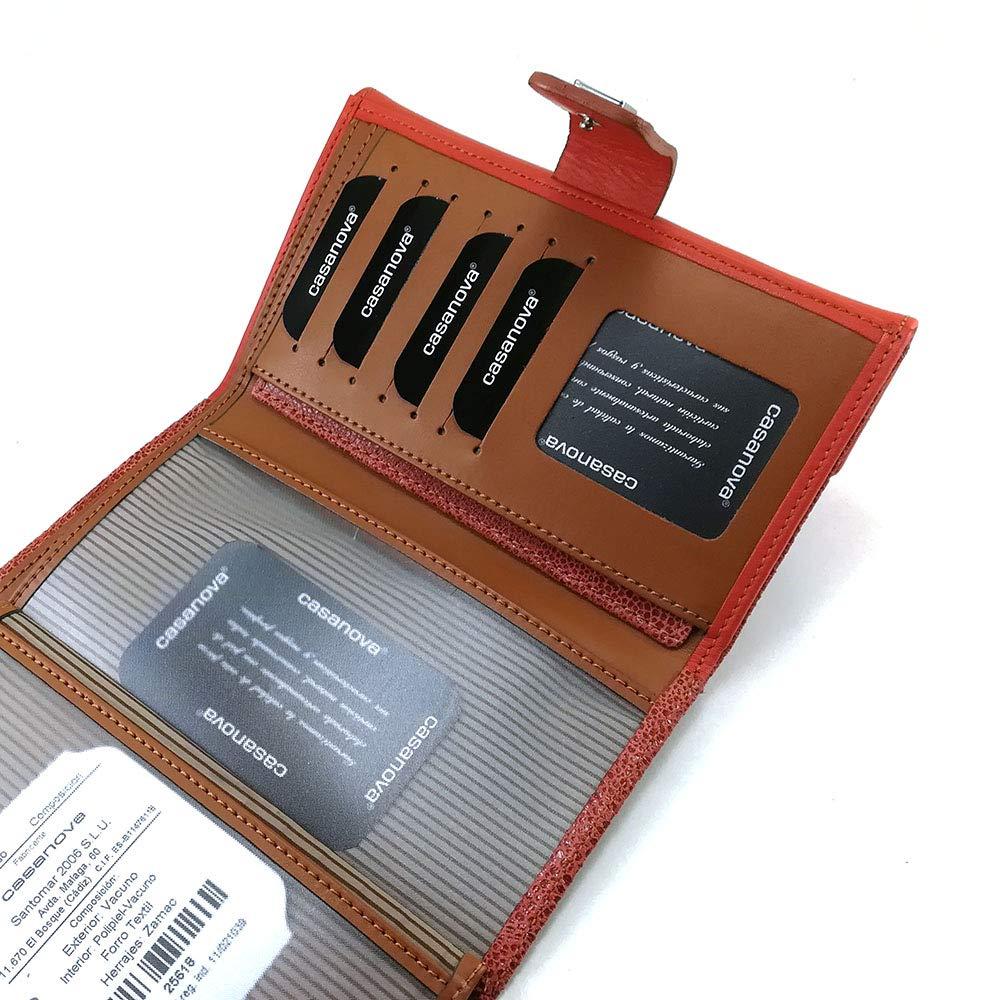 Cartera para mujer, hecho a mano en España, marca casanova, hecha en piel de vacuno, Ref. 25618 Naranja: Amazon.es: Handmade