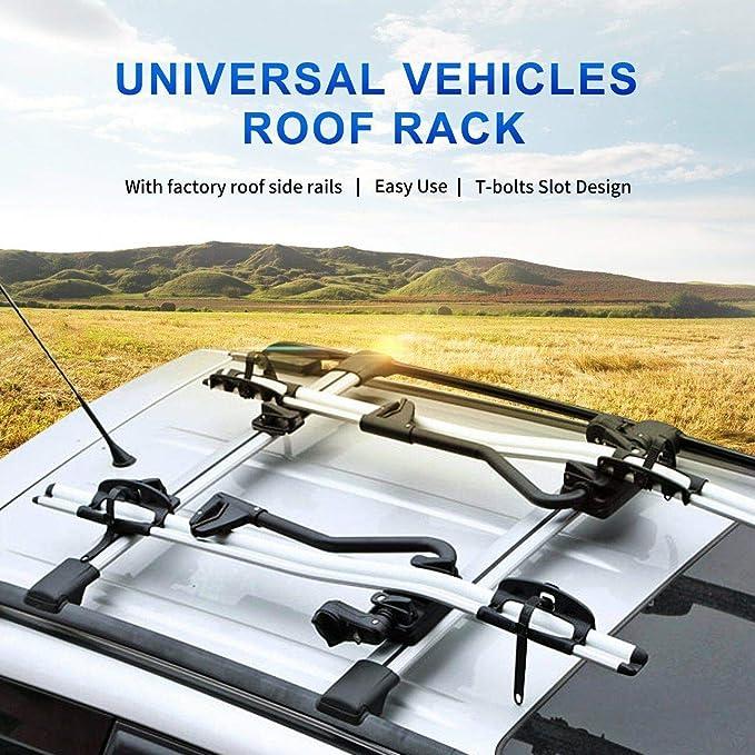 "Pair 36.6/""-39/"" Aluminum Top Rail Roof Rack Car Cross Bars Kayak Carrier 150LBS"