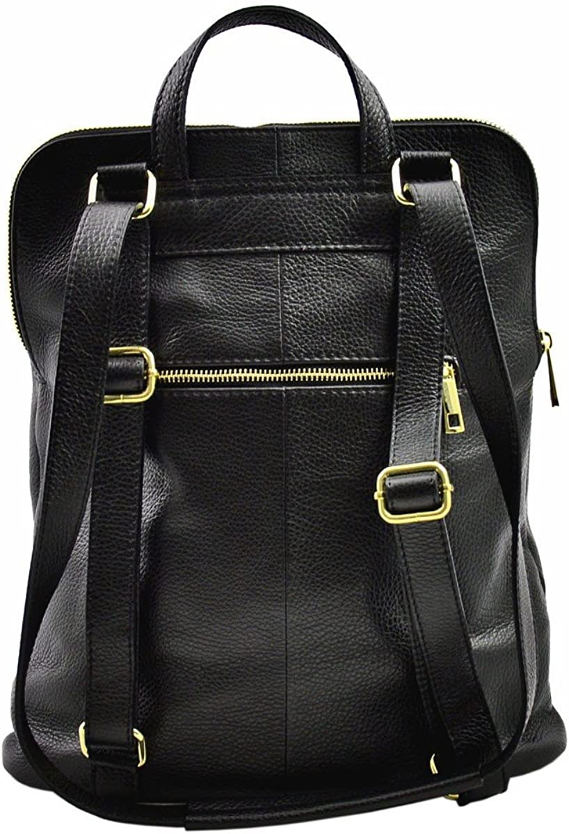 Genuine Leather Backpack and Shoulder Bag Color Black