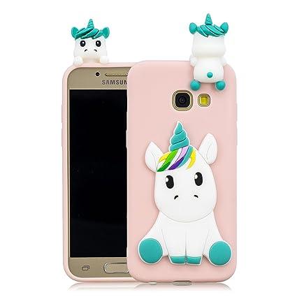 Leton Funda Samsung Galaxy A3 2017 Silicona Unicornio 3D Suave Flexible TPU Carcasa Galaxy A320 Ultra Delgado Mate Gel Tapa Antigolpes Goma Cubierta ...
