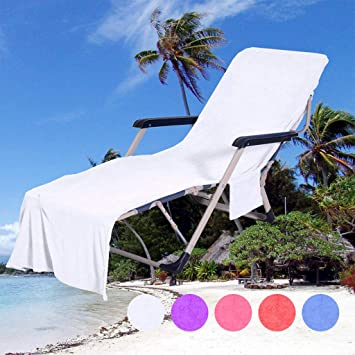 6dfca8e4a079 Beach Chair Cover with Side Pocket Sun Lounger Beach Towel Lounge Chair  Cover Towel Microfiber Chaise