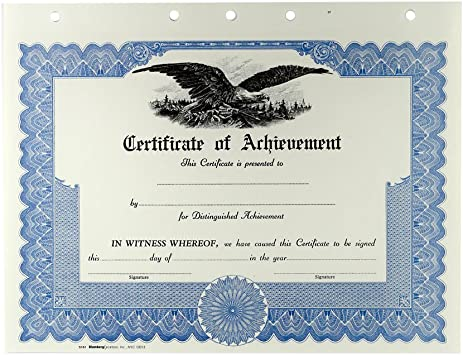 Amazon.com : Blank Certificate of Achievement (12 Pack, Blue ...