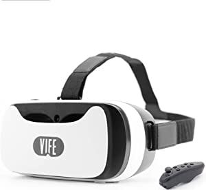 VIFE, Virtual Reality Headset ,3D VR Glasses for Mobile Games and Video & Movies,Compatible 3.5-6 inch iPhone/Android Phone,Including iPhone,Samsung, LG,etc (New Version - Black or White Color Remote)