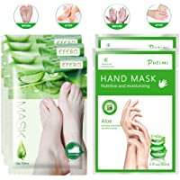 3 Pairs Foot Peel Mask & 2 Pairs Hand Moisturizing Gloves, Natural Aloe Extract, Make Your Feet and Hand Baby Soft…