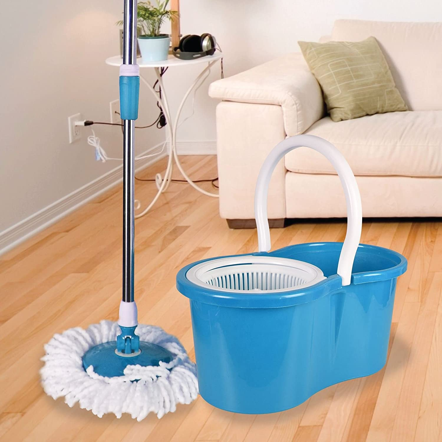 ASAB 360° Spinning Floor Mop and Bucket Set with 2 Microfibre Heads | Easy Wring | Adjustable Height (Grey)