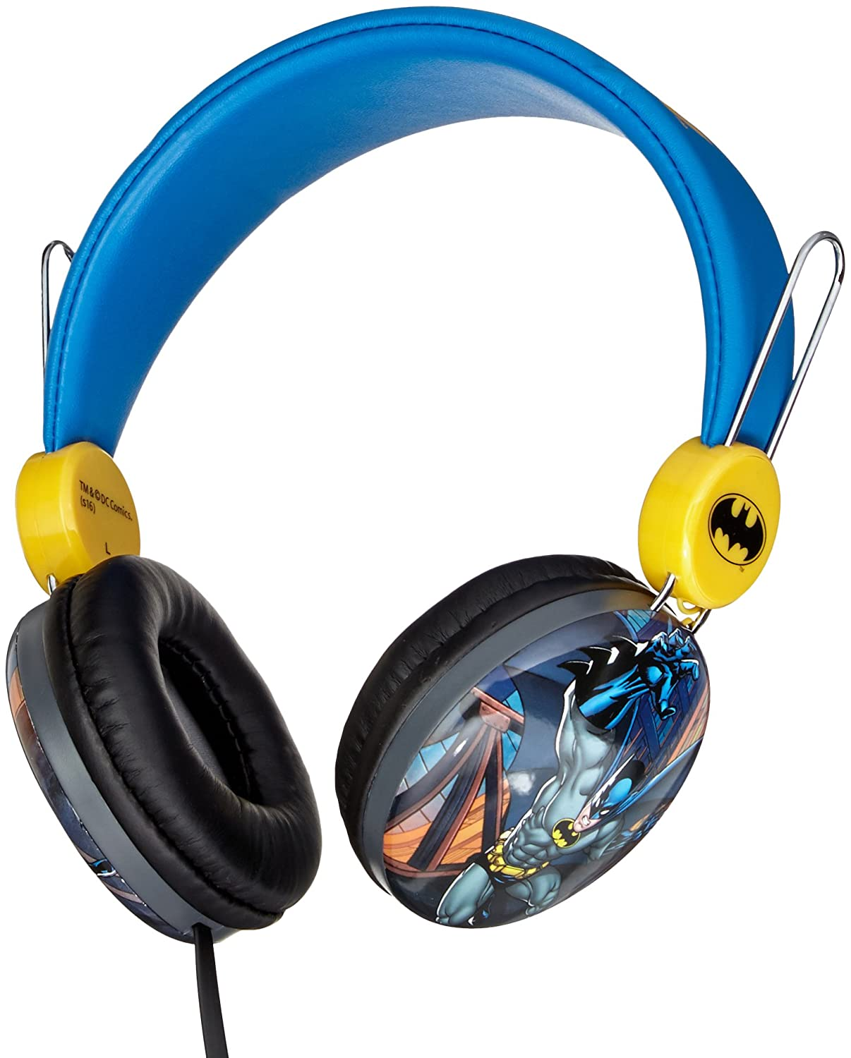 Batman Over The Ear Kids Safe Headphones by Sakar HP1-01082 Sound, Compatible with All IpodIphoneIpad, Comfortable Ear Cushions and Headphones, 1 Year Manufacturer Warranty, Blue