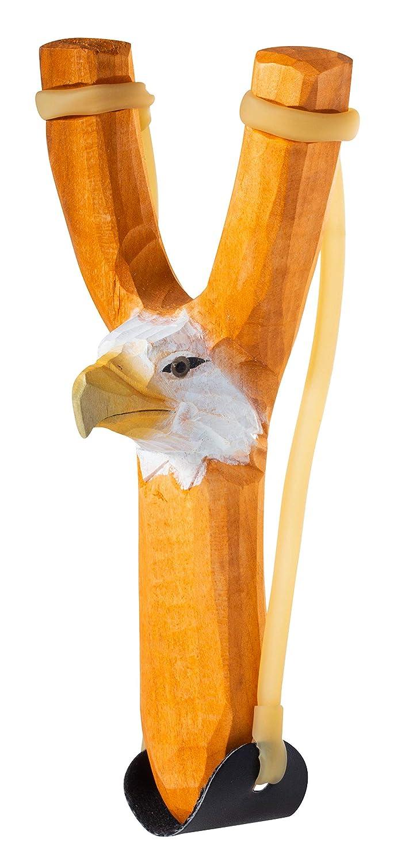 Slingshot and Ammo Artisan Owl Carved Wooden Eagle Head Rubber Slingshot Toy