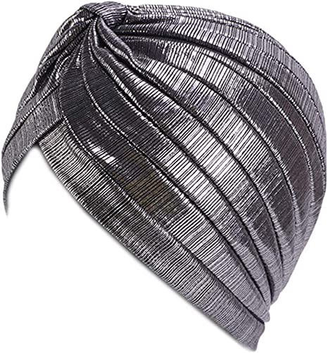 planuuik Womens Metallic Arab Plissee Haarwickel Turban Hut Glitzernde Drawbench Indischer Muslim Hijab Criss Cross Knot Chemo Cap Bonnet
