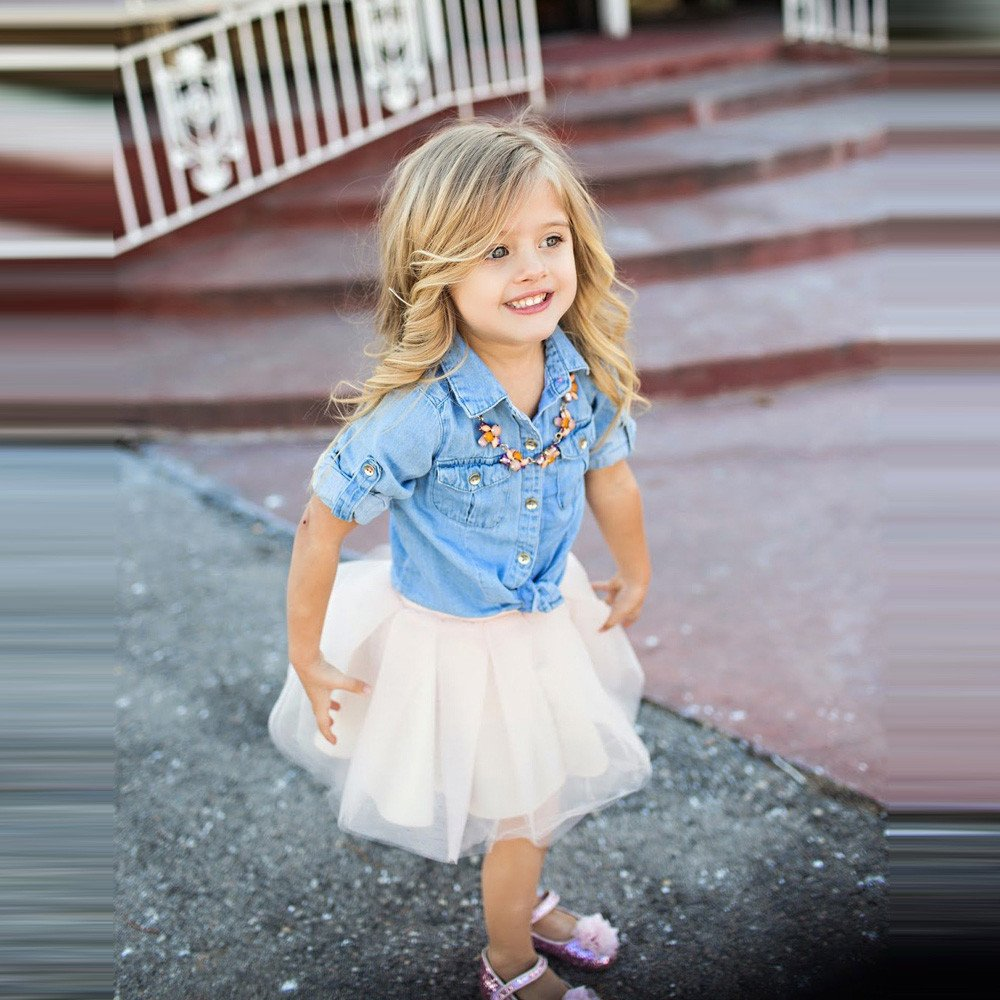 Tantisy /♣↭/♣ Family Matching Outfits ✿ Mommy and Girl Denim Jacket T Shirt Tops+Lace Net Yarn Fairy Skirt Parent-Child Dress