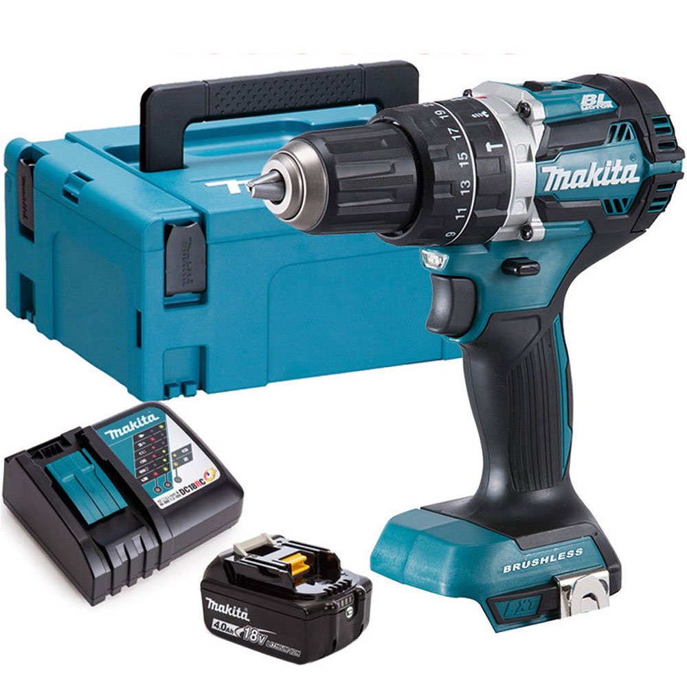 Makita DHP483Z 18V Brushless Hammer Drill With 1 x 4.0Ah Battery Charger /& Case