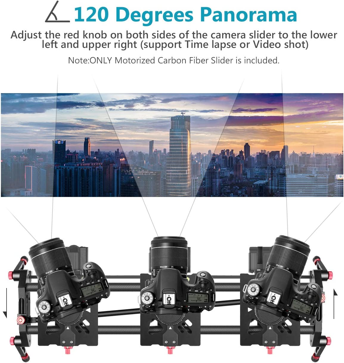 Neewer Motorized Camera Slider, 39.3-inch APP Control Carbon Fiber Track Dolly Rail with Mute Motor/Time Lapse Video Shot/Follow Focus Shot/120 Degree Panoramic Shot for DSLRs, Load up to 22 lbs