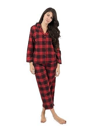 c2039720a8 Leveret Womens Pajamas Flannel Pjs 2 Piece Christmas Pajama Set Black Red  Plaid Size X