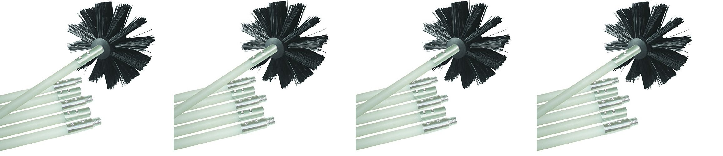 Deflecto Dryer Duct Cleaning Kit, Lint Remover, Extends Up To 12 Feet, Synthetic Brush Head, Use With or Without a Power Drill (Pack of 4)