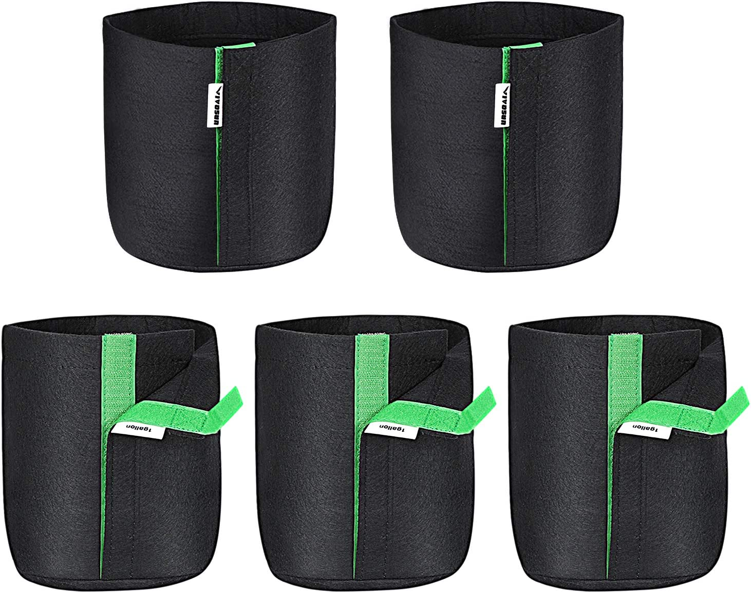 VIVOSUN 5-Pack 1 Gallon Grow Bags, Fabric Pots with Self-Adhesion Sides for Transplanting